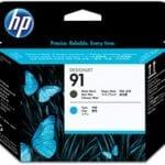 Testina di stampa nero opaco e ciano, HP 91